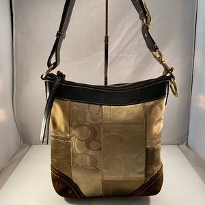 Coach Brown/Gold Leather Suede Shoulder Bag